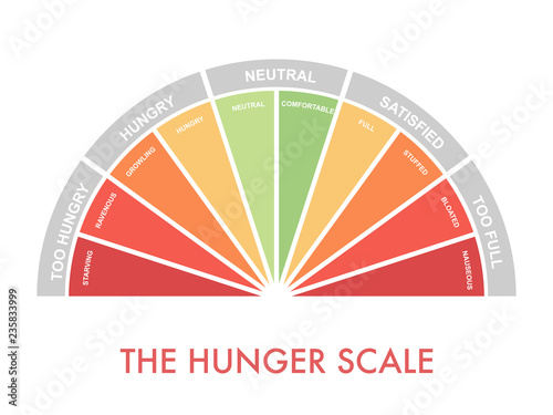 Hunger-fullness scale 0 to 10 for intuitive and mindful eating and diet control Fototapeta