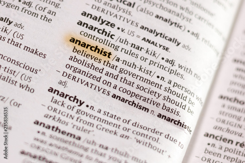 The word or phrase Anarchist in a dictionary. Canvas Print
