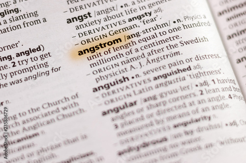 The word or phrase Angstrom in a dictionary. Wallpaper Mural