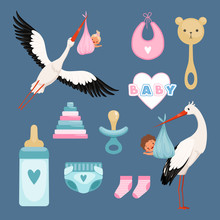Newborn Icons Set. Cute Items ...