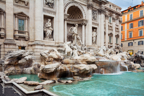 obraz dibond Rome, Italy, Trevi Fountain. Trevi fountain is the largest fountain in Rome, built in the Baroque style.