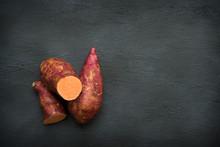 Fresh Organic Sweet Potato Copy Space