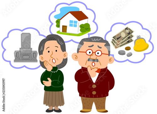 Fotografie, Obraz シニアの夫婦 老後の不安 中高年 全身