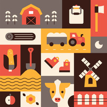 Country Farmer Object Icons. Flat Design Style Vector Graphic Illustration.