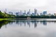 Skyline of New York City a misty day