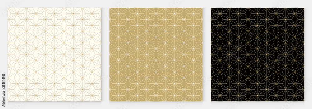 Fototapeta Background pattern seamless cube and triangle abstract gold luxury color geometric vector.