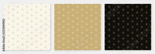 obraz lub plakat Background pattern seamless cube and triangle abstract gold luxury color geometric vector.