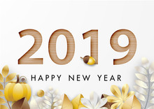 Paper Art Of Happy New Year 2019 Festival With Golden Leaf And Wood Texture Design Vector