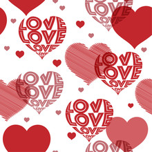Red And White  Hearts Pattern ...