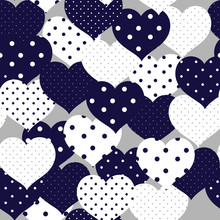 Navy Blue And Whiye  Romantic Seamless Pattern With Polka-dot Heart. Symbols Of Love, Relationships And Valentine Day.