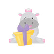 Cute adorable hippo with a pink bow sitting and holding gift box, lovely behemoth animal cartoon character vector Illustration
