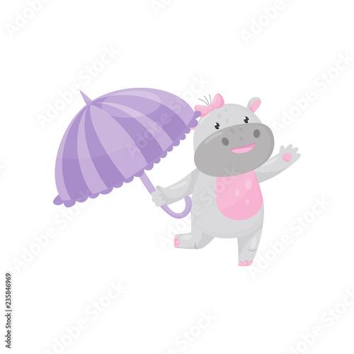 Deurstickers Magische wereld Cute adorable hippo walking with umbrella, lovely behemoth animal cartoon character vector Illustration