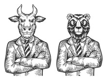 Bull And Bear Head Stock Excha...