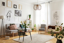 Table With Flowers On Carpet In Apartment Interior With Posters Above Sofa Near Armchair. Real Photo