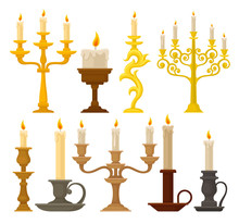 Candles In Candlesticks Set, V...