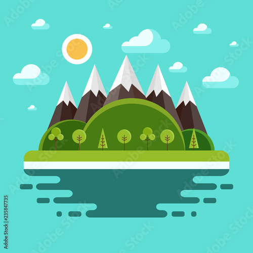 Keuken foto achterwand Groene koraal Nature landscape modern flat vector illustration. Panorama of nature.