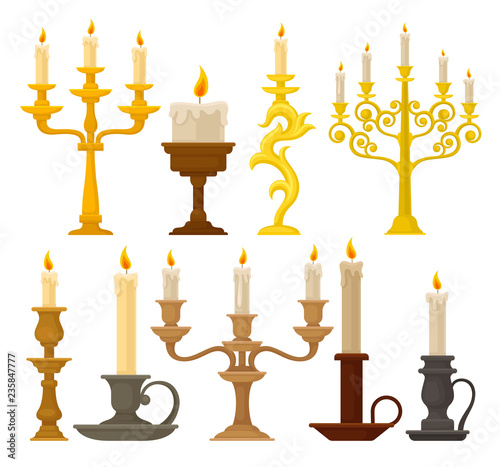 Fototapeta Candles in candlesticks set, vintage candle holders and candelabrums vector Illu