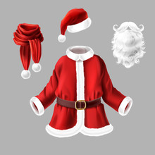 Vector Set With Santa Claus Costume For Fancy Dress Party Isolated On Gray Background. Traditional Christmas Clothes And Accessories For Masquerade, Red Coat With Belt, Scarf And Hat, White Fur Beard