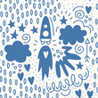 Valentine's day. Vector seamless pattern in Doodle style. Rocket, stars, sky