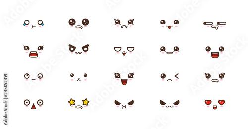 Photo  Kawaii smile emoticons. Japanese emoji