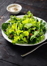Plate Green Salad Wooden Table Healthy Dietary Food