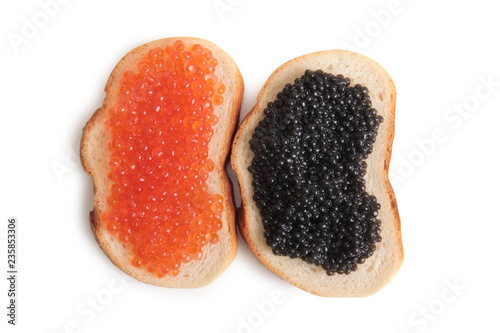 Fish caviar in a plate on a white background