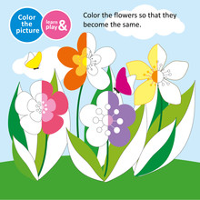 Flowers In The Meadow In The Summer. Game For Small Children. Color The Picture. Coloring. For Childrens Magazines. Memory Train For Kids. Learn And Play. Educational Vector Illustration For Babies.