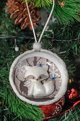 Christmas tree hanging ornament, white fox, close up