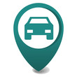 map marker icon, 3d vector pin location in green, gps icon, parking car