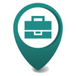 map marker icon, 3d vector pin location in green, gps icon, suitcase
