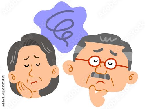 Tablou Canvas 中高年夫婦の悩み 不安 顔 表情