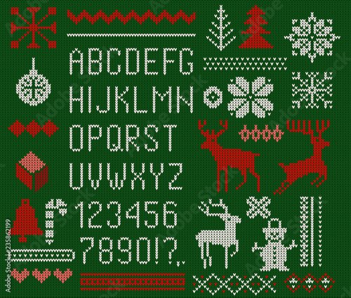 Set of knitted font, elements and borders for Christmas, New Year or winter design Wallpaper Mural