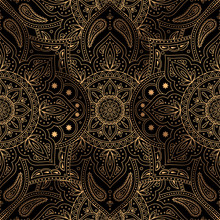 Luxury Background Vector. Oriental Mandala Royal Pattern Seamless. Paisley For Christmas Party, New Year Holiday Wrapping Paper, Yoga Wallpaper, Beauty Spa Salon Ornament, Wedding Invitation.