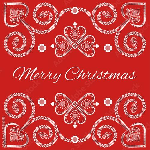 Fotografija  Folk art Merry Christmas card vector template