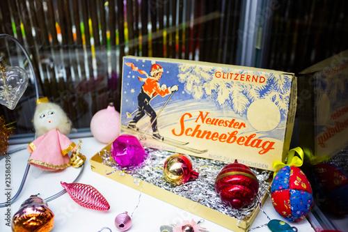 Vintage swiss Christmas tree toy decorations balls