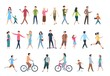 Walking people. Persons in casual clothes, crowd walks in city. Vector human characters set