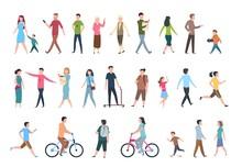 Walking People. Persons In Cas...