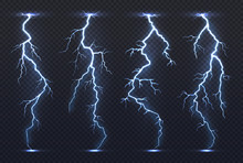 Lightning. Thunder Storm Electricity Blue Sky Flash Stormy Realistic Thunderstorm Rainstorm Climate. Lightnings Vector Set