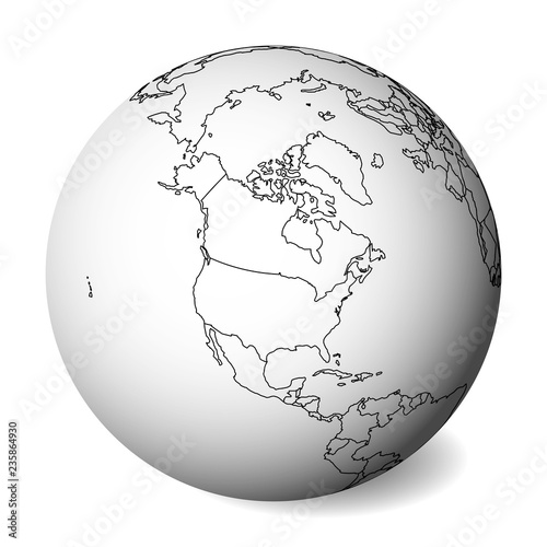 North America Blank Political Map.Blank Political Map Of North America 3d Earth Globe With Black
