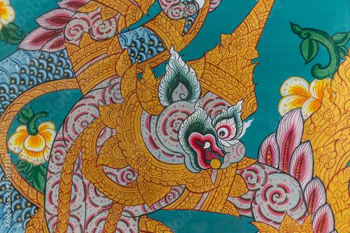 In de dag Aziatische Plekken Gemälde an einer Tempeltüre
