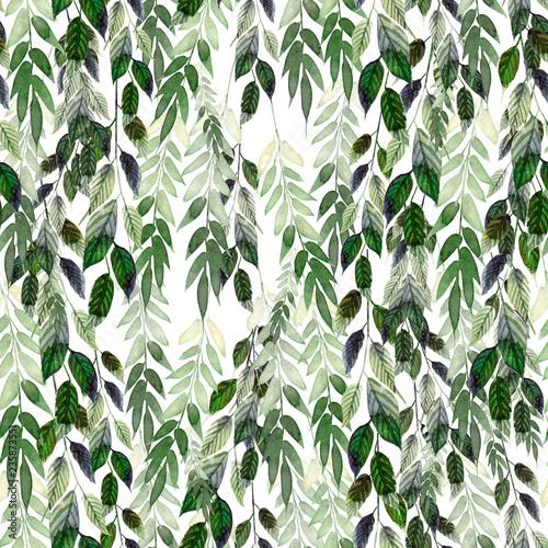 akwarela-wzor-z-zielonymi-liscmi-reczne