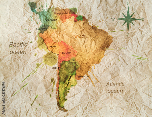 Fotografie, Obraz south america watercolor map