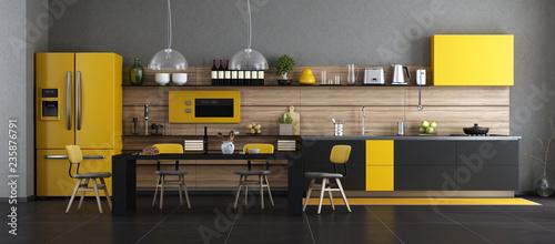 Fotografia  Black and yellow modern kitchen