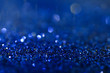 Bright blue glitters, closeup