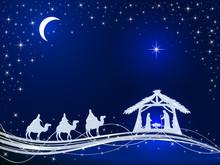 Christian Christmas On Blue Ba...