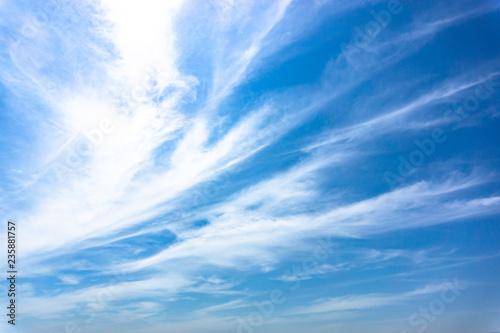 Aluminium Prints Heaven Light blue sky with streak white cloud,Season summer.