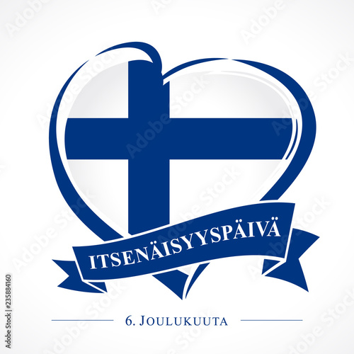 Fotografia, Obraz Love Finland emblem with heart in national flag and finnish text: Independence day 6 December