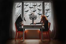 Two Children In Halloween Cost...