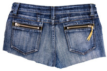 Piece Of Blue Jeans Fabric With Back Pockets