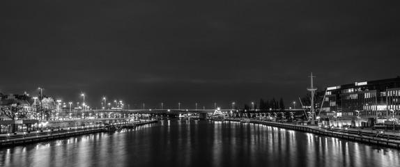 NIGHT RIVER - Port city of Szczecin by night